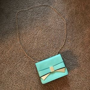 Turquoise gold chain purse